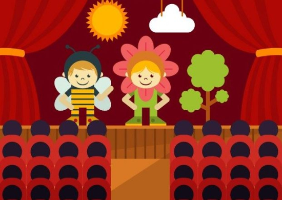 Disegno di bambini su palco teatrale