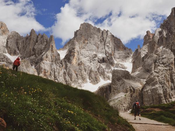sentiero con sfondo di montagna