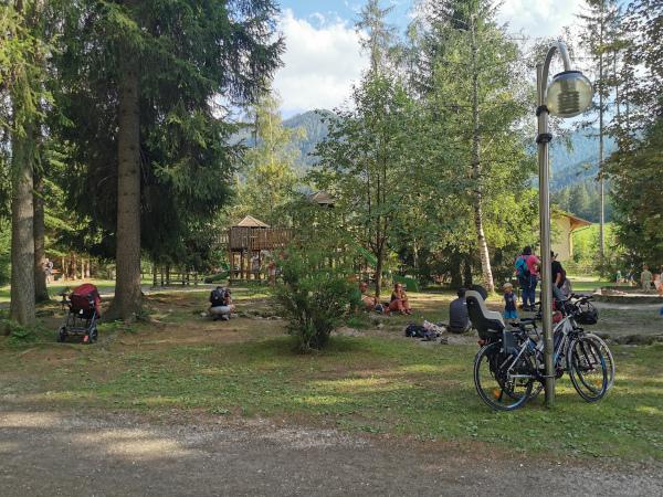 parco giochi in mezzo agli alberi