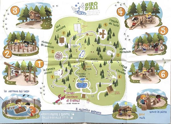mappa di un parco con segnalati i punti d'interesse