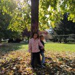 bambine in mezzo a foglie in un parco