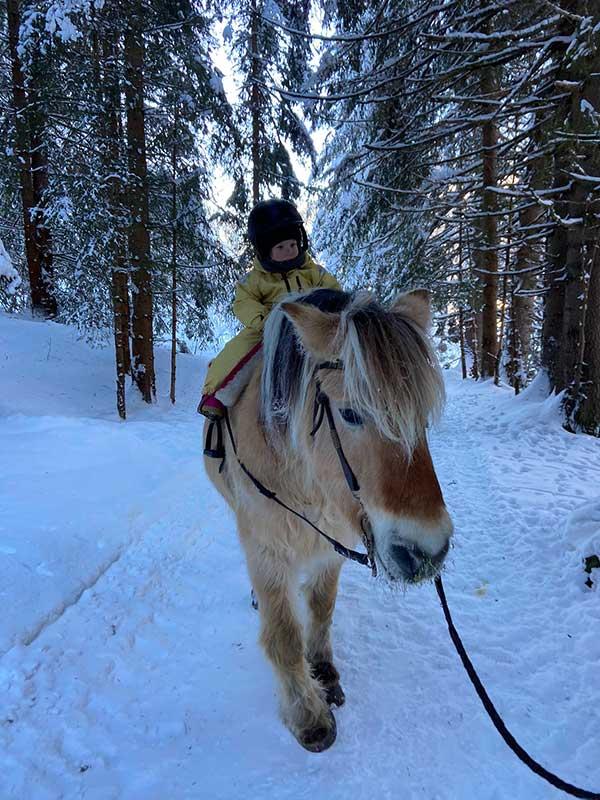bambino a cavallo nella neve