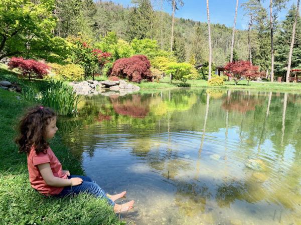bambina su riva di un laghetto